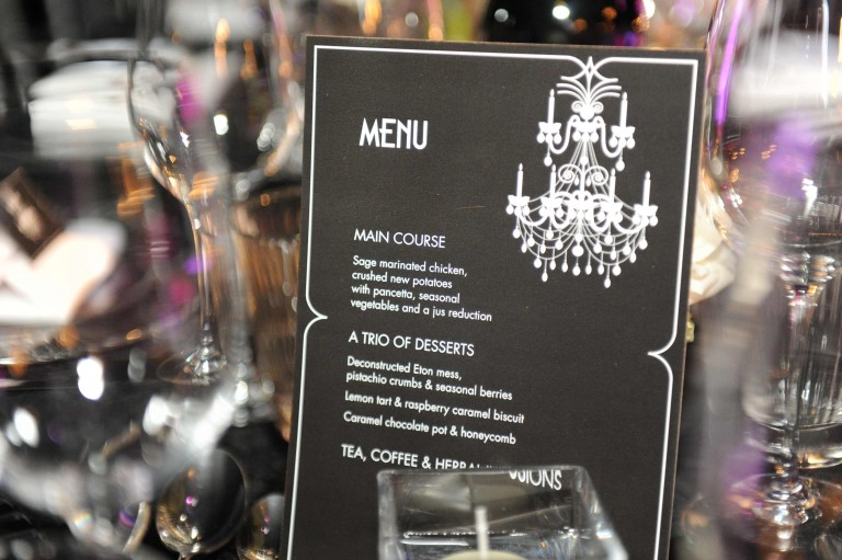 B&W party - menu cards